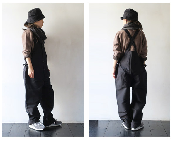 Engineered Garmentsのオーバーオールのモデル着用画像